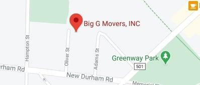 Address of Big G movers NJ